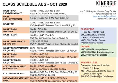 Kinergie Schedule Aug-Oct20
